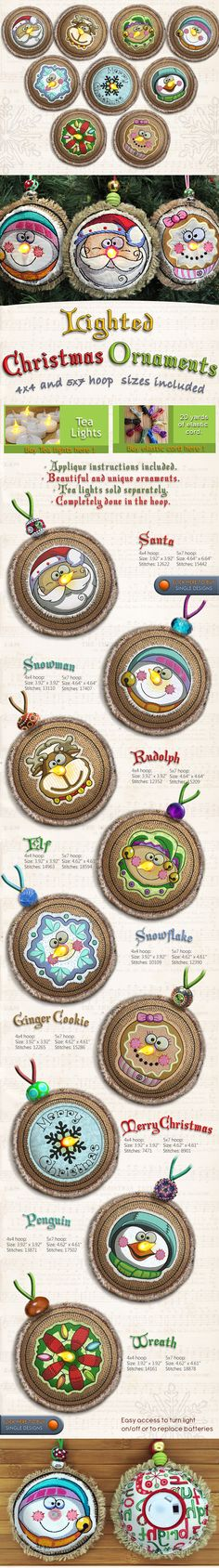 LIGHTED CHRISTMAS ORNAMENTS - Embroidery Designs Free Embroidery Design Patterns Applique