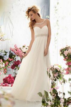 A Line Bateau V Back Sweep Train Chiffon Casual Wedding Dress