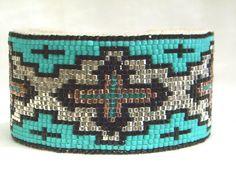 Life Steps Southwestern Beaded Cuff Bracelet by Desert Sage Bead Art