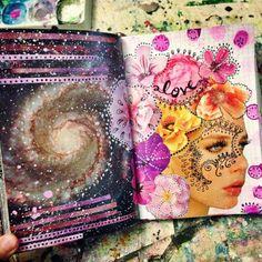 Mixed media art journal pages Art Journal Pages, Artist Journal, Sketchbook Pages, Art Journals, Visual Journals, Journal Ideas, Kunstjournal Inspiration, Sketchbook Inspiration, Creative Inspiration