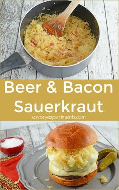 Beer and Bacon Sauerkraut Recipe- drained sauerkraut reconstituted with the flavors of beer and…