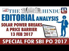 THE HINDU EDITORIAL : ANALYSIS   SOLAR POWER BREAKS A PRICE BARRIER   SB...
