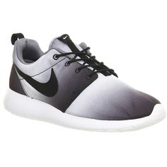 Nike Roshe Run ($110) ❤ liked on Polyvore featuring shoes, nike, sneakers, trainers, black white cool grey print m, unisex sports, black and white shoes, sporting shoes, cushioned shoes and waffle shoes