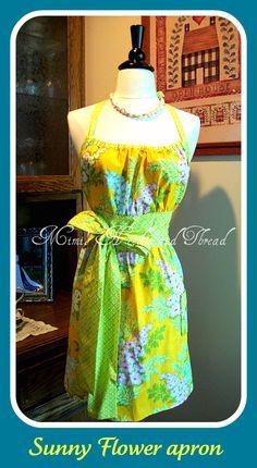 SUNSHINE flowers handmade apron by mimisneedle on Etsy