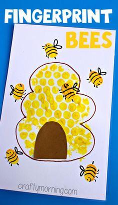 Bubble Wrap Beehive + Fingerprint Bee Craft #Thumbprint art | CraftyMorning.com Add this to the Preschool Spanish Vocabulary Book