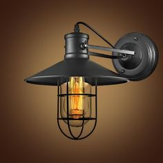 Vintage Industrial Wall Lamp Wrought Loft Lamps Iron Cage LED Wall Light Indoor Lighting Lamparas de Parad With Glass Guard (32575335295)  SEE MORE  #SuperDeals