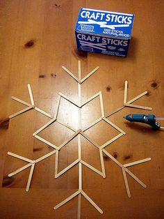 Crafty Nest: popsicle stick giant snowflake Webelos Artist or Craftsman