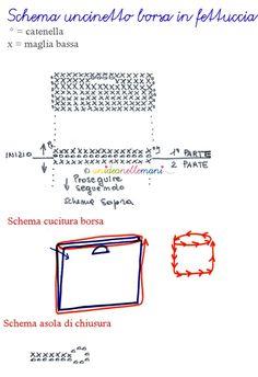schema-borsa-uncinetto Accessoires Divers, Bag Crochet, Notebook, Crochet Patterns, Bullet Journal, Fabric, Mini Bags, Laptop, Felt
