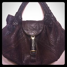 Fendi Spy Bag.. Fendi Zucca interior Authentic Cognac brown Leather Fendi  Spy hobo bag 6ff8bf4b0e205