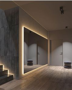 Dark Grey Home Decor With Warm LED Lighting - After a hectic day of being out a., Dark Grey Home Decor With Warm LED Lighting - After a hectic day of being out a. Grey Home Decor, Modern House Design, Home Gym Design, Modern Home Interior Design, Luxury Homes Interior, Modern Bathroom Design, Future House, Interior Architecture, Light Architecture