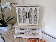 Shabby Chic Jewelry Box - Large Vintage Wood Armoire - Jewelry Cabinet - Storage Organizer -