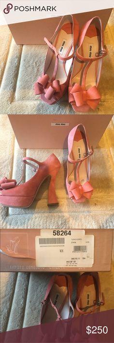 Miu Miu Pumps Miu Miu Coral Pink Mary Jane Pump. Chunky heel makes it very comfortable! Never worn and comes with box. Size 37.5. #miumiu #designersale #designershoes Miu Miu Shoes Heels