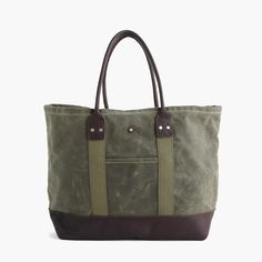 Billykirk® waxed canvas tote bag in olive : J.Crew in Good Company | J.Crew