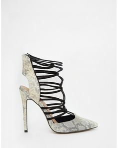 Lost Ink Gray Chilli Snake Effect Ghillie Lace Up Heels