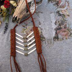 Unakite Stone & Bone Beaded Hairpipe Leather Breastplate - Native American Inspired Necklace - Handmade Bohemian Tribal Festival Jewelry