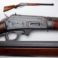 """Marlin Model 1893 was Marlin's first lever-action model chambered for smokeless powder cartridges. Proudly marked on the side of the barrel """"Special Smokeless Steel,"""" this model rifle was made from 1893 to Weapons Guns, Guns And Ammo, Winchester, Lever Action Rifles, Into The West, Fire Powers, Hunting Rifles, Cool Guns, Bushcraft"""