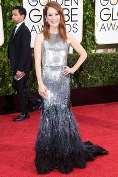 Julianne Moore adds a touch of sparkle to the night's proceedings in glamorous Givenchy.