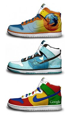 Nike sneakers featuring Firefox, Twitter and Google. Cool