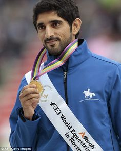 Action man: Hamdan is famous for his love of horses and is also an avid diver and amateur skydiver.