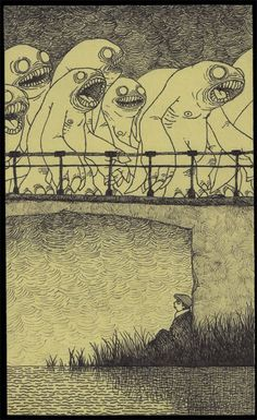 48 Best Don Kenn Art. Don Kenn opens a window to a different world when he draws monsters on post-it notes with only a pencil. Arte Horror, Horror Art, Monster Drawing, Monster Art, Art And Illustration, Don Kenn, Arte Inspo, Arte Obscura, Creepy Art
