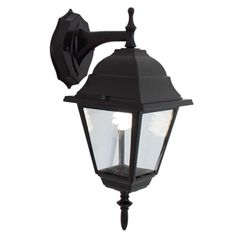 Lima II 1 light downward facing exterior wall bracket in black with clear glass panels,Lighting, Beacon Lighting