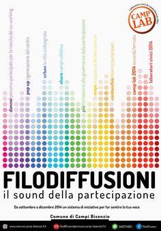 Filodiffusioni •Il sound della partecipazione • Materiale informativo per il Comune di Campi Bisenzio • Graphic designer Sonia Squilloni 2014