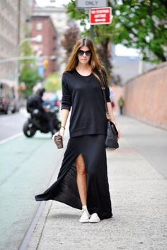 Casual sweater + long skirt with converse