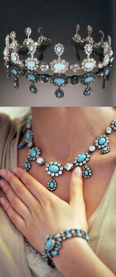 Savoy TURQUOISE/DIAMOND necklace/tiara - graduated oval turquoise & old-cut diamond clusters, each suspending a similar drop to the diamond collet spacers. The 6 main diamonds can be unscrewed. Mounted in silver & gold, c1830.  Provenance Countess of Flanders, Queen Elisabeth of Belgium, Queen Maria José of Italy.