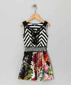 Take a look at this Black Stripe & Floral Dress by Truly Me on #zulily today!