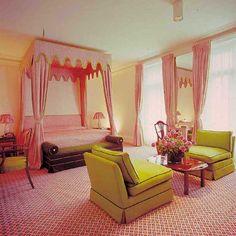 David Hicks Interior Designer Pink Fabric Bedroom