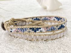 Periwinkle Sea Glass Bracelet Beaded Leather Wrap by PinaHina