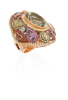 A fabulous colored gemstone cocktail ring by Rina Limor that's sure to turn heads.