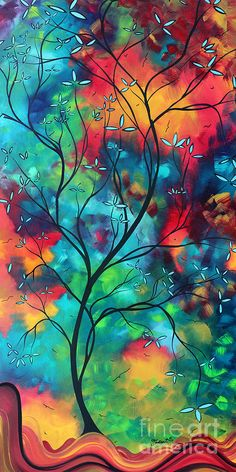 Bold Rich Colorful Landscape Painting Original Art Colored Inspiration By Madart Painting
