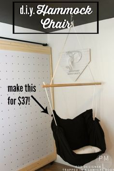 DIY Seating Ideas - DIY Hammock Chair - Creative Indoor Furniture, Chairs and Easy Seat Projects for Living Room, Bedroom, Dorm and Kids Room. Cheap Projects for those On A Budget. Tutorials for Cushions, No Sew Covers and Benches http://diyjoy.com/diy-seating-chairs-ideas