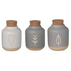 Set 3 Recipient pentru mirodenii Leaf&Blossom&Heart Mini, Vase, Gifts, Design, Home Decor, Gift Ideas, Products, Kitchen Chalkboard, Small Bottles