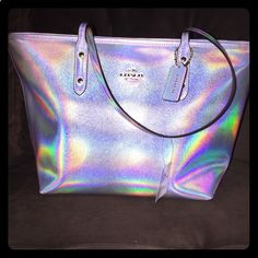 Coach Hologram Silver Tote Brand new w/tags 100% authentic super cute Hologram Tote, its one of a kind Coach Bags Totes