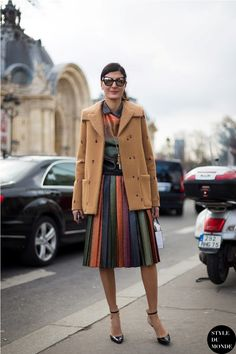 ombre outfit with camel jacket