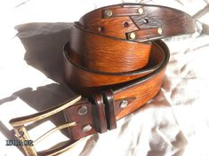 Brown Distressed Leather belt with decorative golden studs, groomsmen gift, groomsman gift, best man gift - vintage look by Ishaor