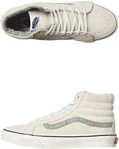 Vans Sk8 Hi Slim Suede Womens Shoe White Cotton men's style and fashion