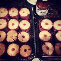 Baked Easy Healthy Teriyaki Burgers:  4lbs Beef 21oz. Bottle of Teriyaki Sauce 2 cups Bread Crumbs 20-25 Slices Turkey Bacon 2 Eggs About 20 Pineapple Rings  Mix all ingredients except pineapple rings and turkey bacon.  From 3/4 lb balls of burger mix.   Preheat oven to 375 degrees   Wrap each ball in a slice of turkey bacon and fix it in place with toothpicks.  Put a ring of pineapple atop each burger form. (You may need to reshape the rings to be smaller.)  Bake 30 min until 160 degrees