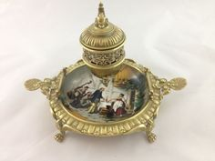 RARE Vintage Brass & Paint on Porcelain Inkwell