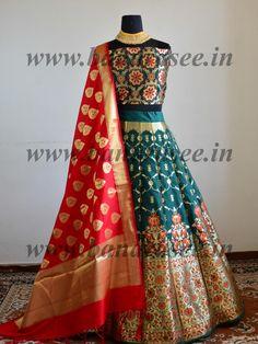 Handwoven Art Silk Unstitched Lehenga & Blouse Fabric With Meena Work-Deep Green - Designer Dresses Couture Banarasi Lehenga, Lehenga Gown, Lehnga Dress, Lehenga Blouse, Cotton Lehenga, Brocade Lehenga, Indian Lehenga, Indian Gowns, Indian Attire