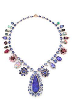 Irene Neuwirth | OOAK necklace with sapphire, tanzanite, emerald, tourmaline, opal and diamond pave