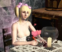 The pink fairy is insane and an evil emperor. And the sweet little darling is a vampire :D Sims 3