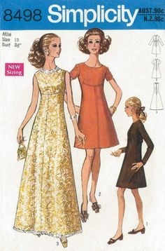 Simplicity 8498 (©1969). Dress, mini or maxi. Vintage sewing pattern from personal collection. Love view 2 made up!