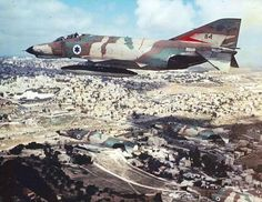 """Four F-4E """"Kurnass"""" of the Israeli Air Force over Jerusalem in the 1970s"""