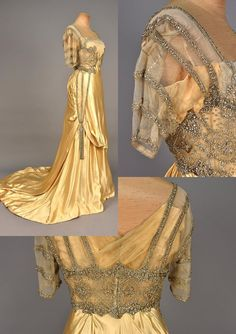 House Of Worth   Evening Gown   ca. 1910-12   French   Rhinestone-Embellished Satin