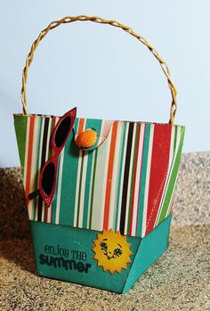 "3-D Beach tote bag with sunglasses created using the Silhouette Cameo and stamped with ""Enjoy the Summer"" from JoysLife.com stamp set Pun in the Sun"