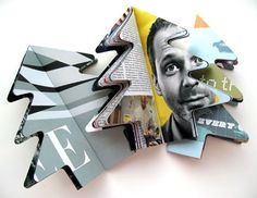 recycled christmas card ram-punched out of magazines + brochures by Johnson Banks (2007)