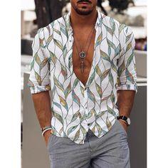 Spring Fashion, Daily Fashion, Shirt Shop, Vintage Prints, Sustainable Fashion, Printed Shirts, Preppy, Men Casual, Long Sleeve